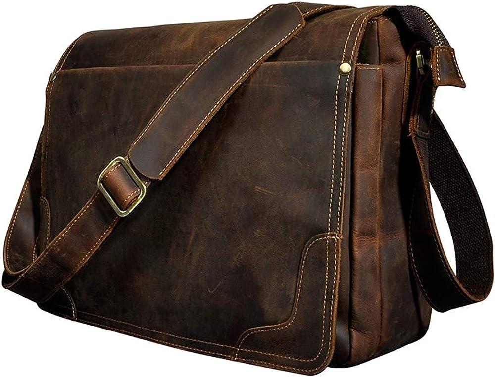 Retro Men's Crazy Horse Leather Messenger Computer Shoulder Bag Quality inspection Large special price