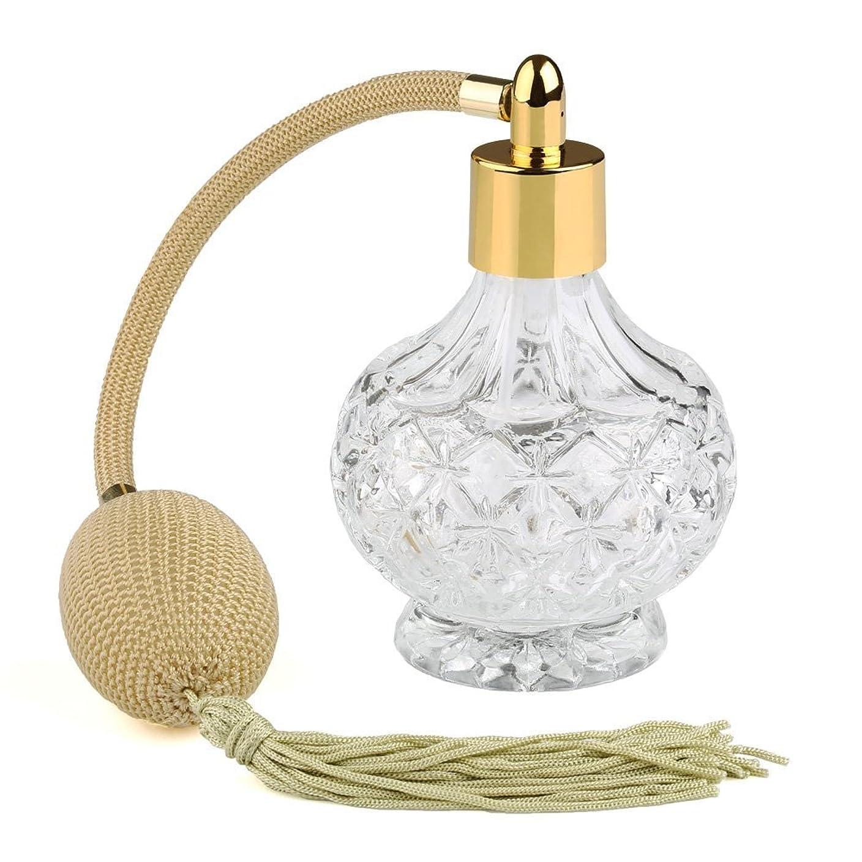 存在インシュレータ自由Easy Raku?高品質 18MMガラスボトル香水瓶 ポンプ式 香水瓶 アトマイザー カーキのフリンジ付きプラスチック?ニットバルブ ゴールドスプレー 80ML 装飾雑貨 (ゴールド)