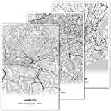 Zulumaps 3er Set 30x45cm Poster Stadtplan (Hamburg, London, New York) - Hochwertige Kunstdrucke