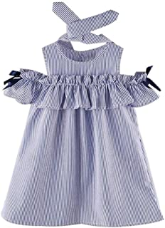 Clearance! Kids Baby Dress, 2PCS Toddler Girl Outfit Clothes Strapless Stripe Bowknot Dress+Headband Set