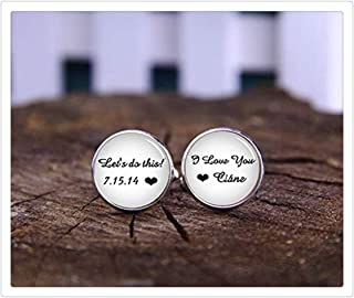 Death Devil Custom Cuff Links,Let's Do This, I Love You Cuff Links, Custom Date & Name Cufflinks, Custom Heart Cufflinks, Wedding Cufflinks, Grooms Birde Name Cufflinks,Gift of Love
