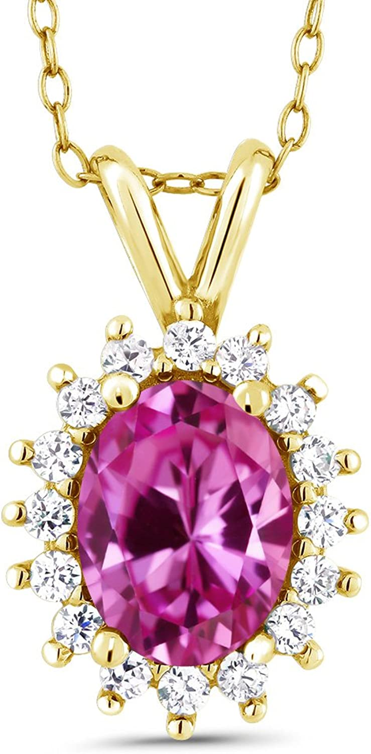 Oval Pink Created Sapphire 18K Yellow gold Plated Silver Pendant 1.89 Cttw With 18 Inch Chain