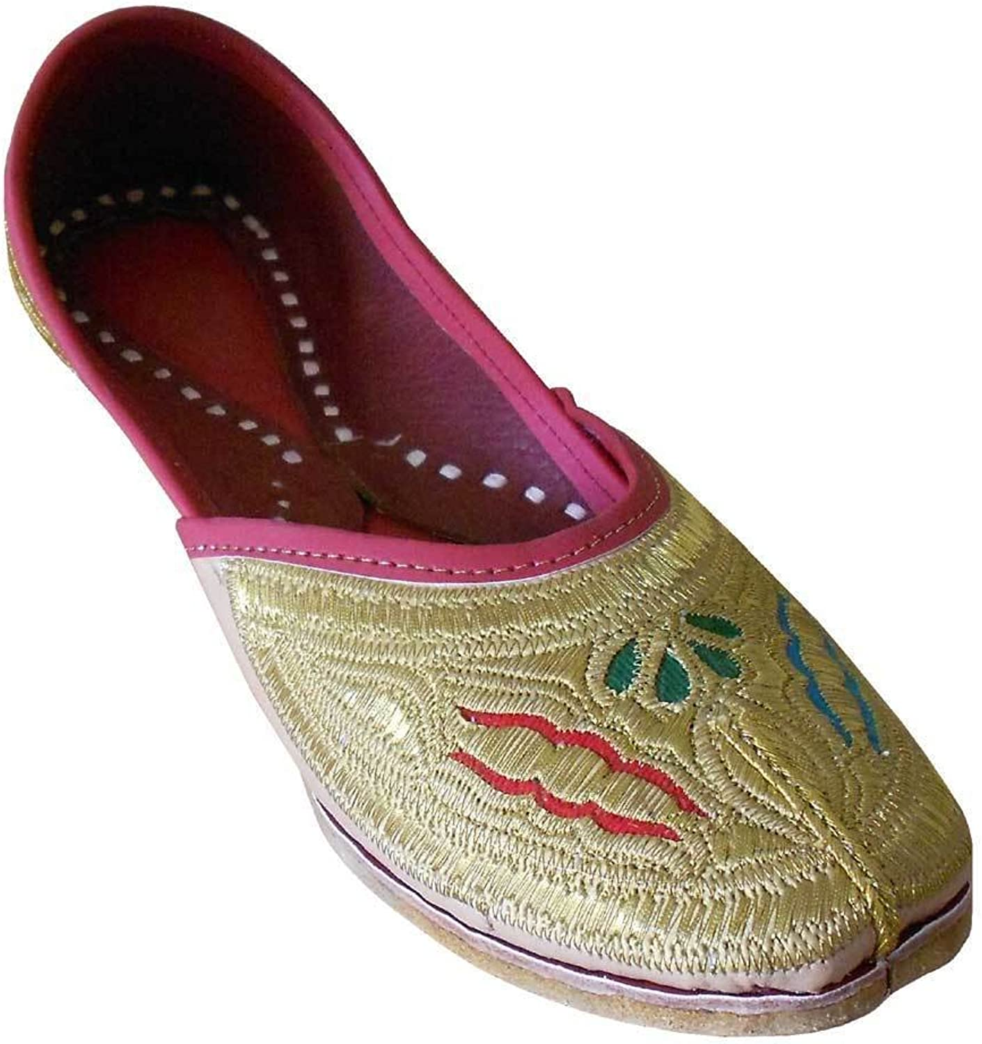 Kalra Creations Women's Traditonal Indian Faux Leather with Embroidery Casual shoes