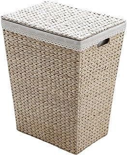 Boîte de Rangement Panier de Rangement Panier de rangement en paille en rotin avec panier à linge Cube de Rangement (Color...