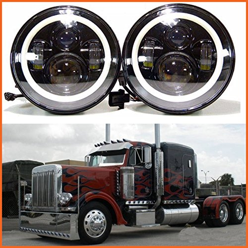 H6024 LED Replacement Round Headlights 7 Inch 75 Watt Halo Ring Amber Turn Signal High Low Beam DRL Light Bulb Combo for Trucks Freightliner Century 95 Peterbilt 379 EXHD 359 -  Autofu