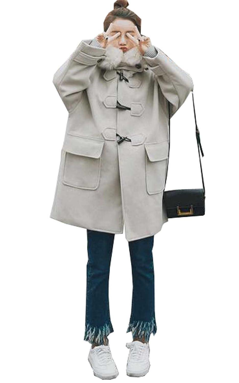 GuDeKe 秋冬 レディース ラシャ コート ダッフルコート 厚手 防寒 ロングアウター フード付き ジャケット ゆったり