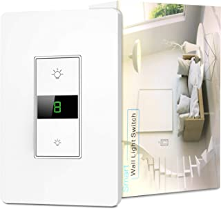 Smart Dimmer Switch, Alexa Dimmer Switch, Smart WIFI Light Switch Work with Google Home and IFTTT, Single-Pole, Neutral Wire Required