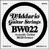 D'Addario BW022, cuerda individual para guitarra acústica, entorchada en bronce.022