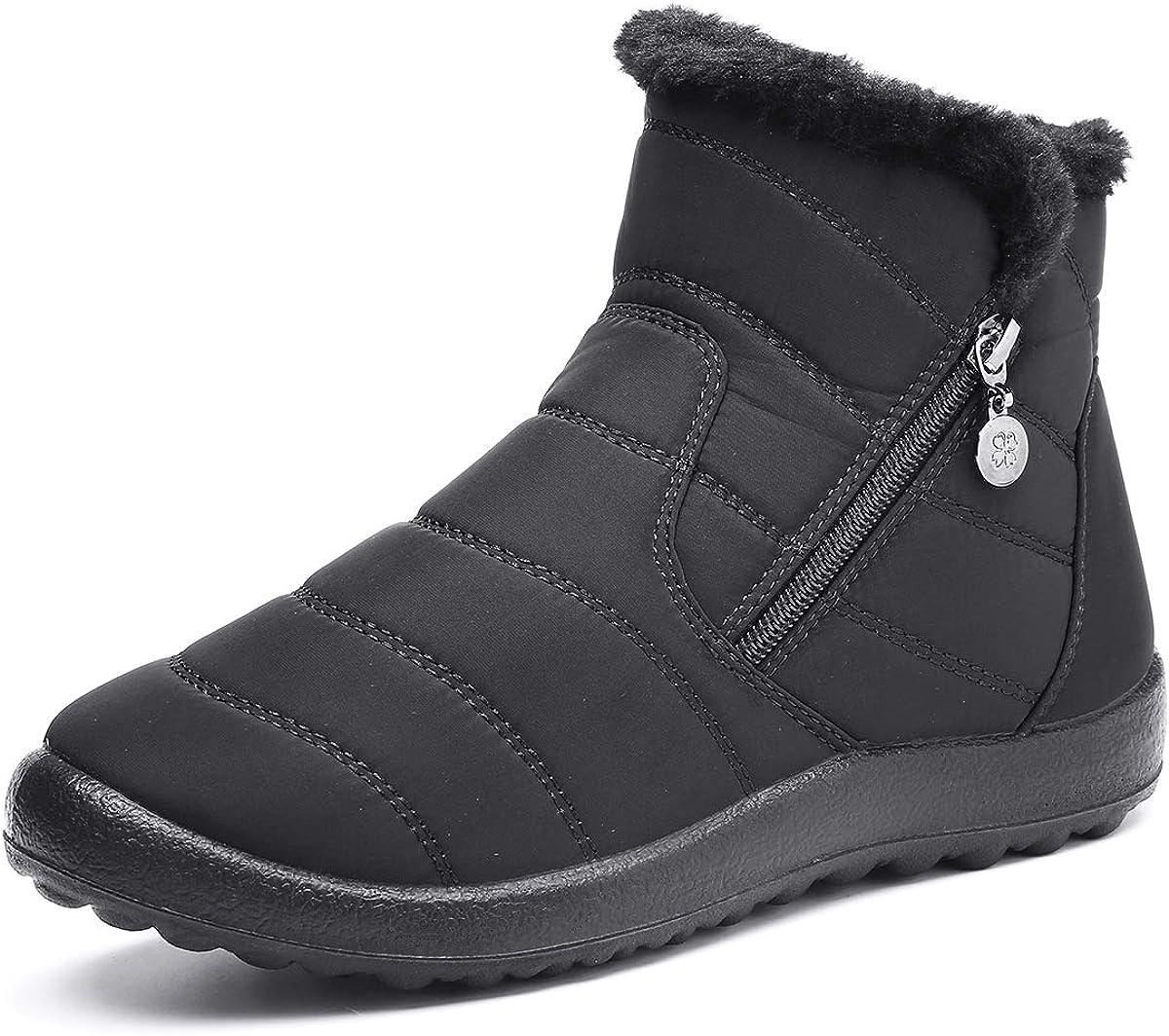 Bottines Hiver Plates en Tissu Imperm/éable Pluie Fourrure Chaussures Hiver Chaussons Boots Fourr/ée Chaude Confort Camfosy Bottes de Neige Femmes Filles