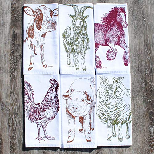 Cloth Napkins Set of 6 Barnyard Animals Cotton Kitchen Linens