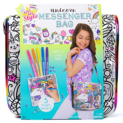 Just My Style Color Your Own Unicorn Messenger Bag by Horizon Group USA,Embellish Your Unicorn Themed Holographic Purse,DIY Arts & Craft Activity & Gift, Sparkling Gemstones & Bright Markers Included