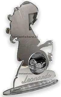 Porta foto ecografia o foto del bambino personalizzata in plexiglass specchiato donna incinta con scarpetta