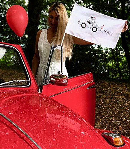 HECKBO 2X Autoflagge, Autofahne Hochzeit - Hochzeitsdeko - Hochzeitszubehör - Hochzeitsaccessoires - Auto Deko für Hochzeit - Autoschmuck Hochzeit - Hochzeitsgeschenk - Hochzeitsschmuck