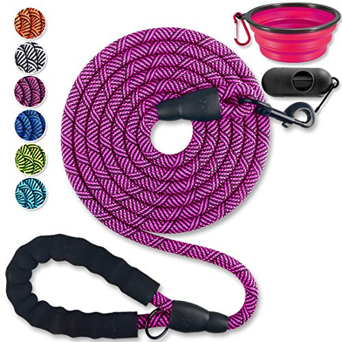 Paercute 10 FT Heavy Duty Dog Leash with Comfortable Padded Handle Reflective Dog leashes for Medium Large Dogs