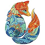 Wooden Puzzles for Adults, AAGOOD Fox Wooden Jigsaw Puzzle 224 pcs Irregular Unique Animals Shaped Magic Puzzles Pieces Family Game Best Gift for Adults and Kids (8.1×10 inches) Large