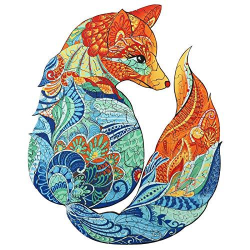 AAGOOD Puzzle di legno(Volpe), puzzle forma di animale a forma unica per il Miglior regalo per Adulti e bambini,cmmigliore per la collezione di giochi di famiglia,14.5 * 18 cm