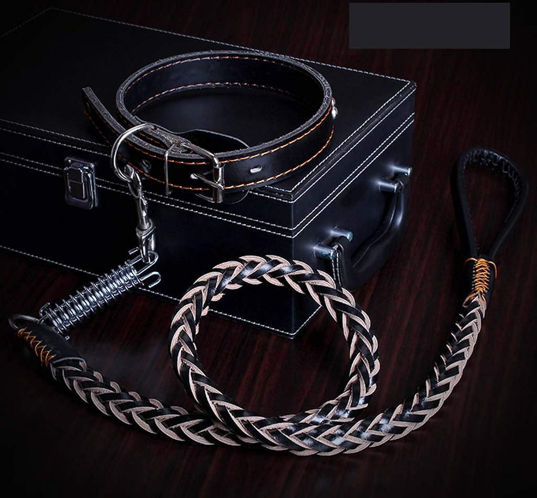Dog Leash Dog Chain Large Dog Collar Dog Leash Leather Dog Chain Medium Dog pet Supplies,2,L