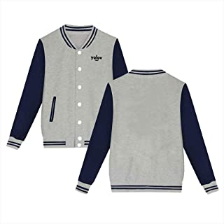 Yolov Baseball Jacket Custom Fleece Varsity Uniform Jackets Coats for Youth Gray
