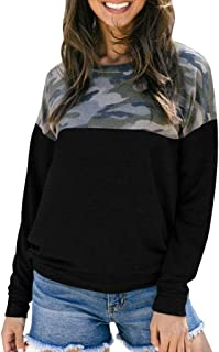Aunimeifly Womens T-Shirts Round Neck Tops Long Sleeve Jumper Blouse Camouflage Printed Patchwork Sweatshirt