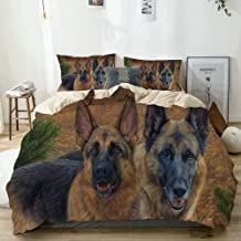 BGNHG Decorative Duvet Cover Sets Bed Sheets,Beige,Dog Dogs German Shepherd Canine Animal Outdoors Fall Autumn Painting Mammal,3 Piece Bedding Set with 2 Pillow Cases King Size