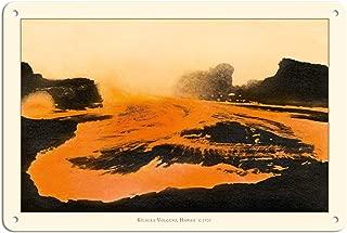 Gogik Kilauea Volcano - Big Island, Hawaii - Pele, Fire Goddess Vintage Metal for Bar Garage Cafe Home 12 X 8 in