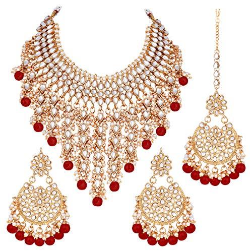 Aheli Collier indien traditionnel imitation Kundan et ensemble Maang Tikka (marron) Ethnique Bollywood Bijoux tendance pour femme