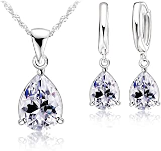 925 Sterling Silver Cubic Zirconia Teardrop Pear-shaped Solitaire Pendant Necklace and Earrings Set