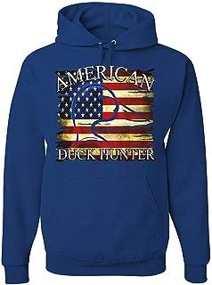 qiaoen American Duck Hunter Hoodie Waterfowl Hunting American Flag Sweatshirt