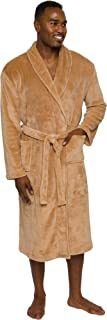 Mens Plush Shawl Collar Kimono Bathrobe Robe