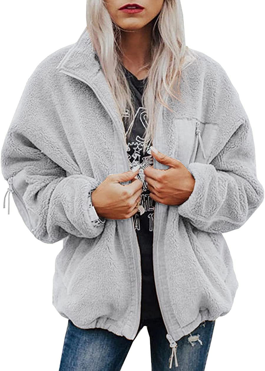 Dzyoleize Women's Zip Up Faux Fur Coat Shearling Fluffy Hooded Cropped Teddy Jacket Casual Fuzzy Jacket
