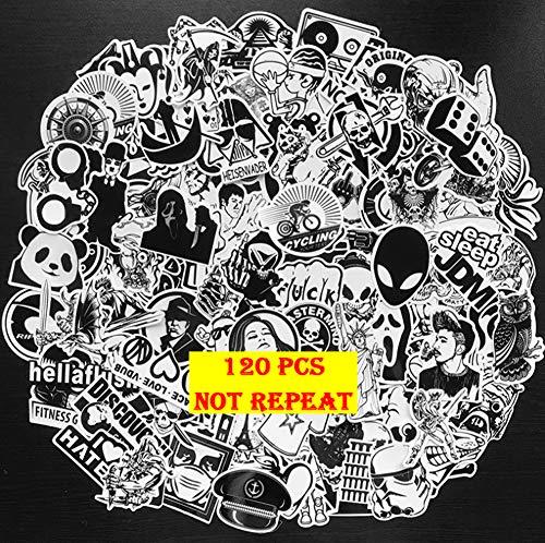 Sticker 120 Stks Kinderen Zwart En Wit Graffiti Punk Notebook Skateboard Koffer Koffer Fietshelm