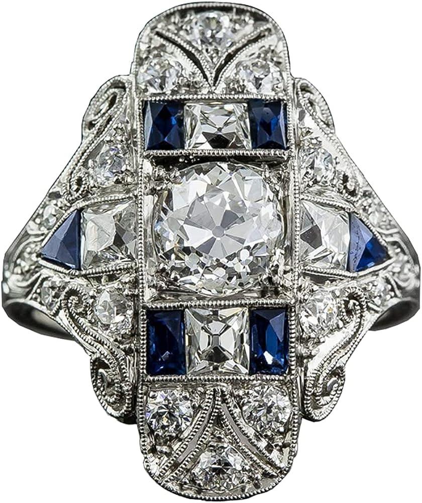 Aimys Vintage Rhodium Plated Cubic Zirconia CZ Statement Art Deco Milgrain Cocktail Fashion Right Hand Ring Women Sapphire Gems Wedding Engagement Jewelry Size 6-10