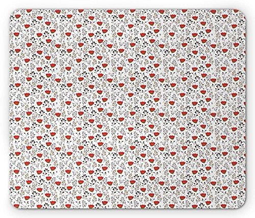 Spring Mouse Pad, Bloeiende Doodle Bloemenpatroon met Kruiden Planten en Wilde Bloem op Witte Achtergrond, Standaard Grootte Rechthoek Anti-lip Rubber Mousepad, Multi kleuren