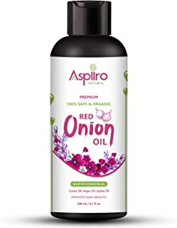 Aspiiro Natural Organic Red Onion Hair Oil for Hair Growth and Anti Hair Fall 6.7 Ounce | No Mineral Oil and Paraben