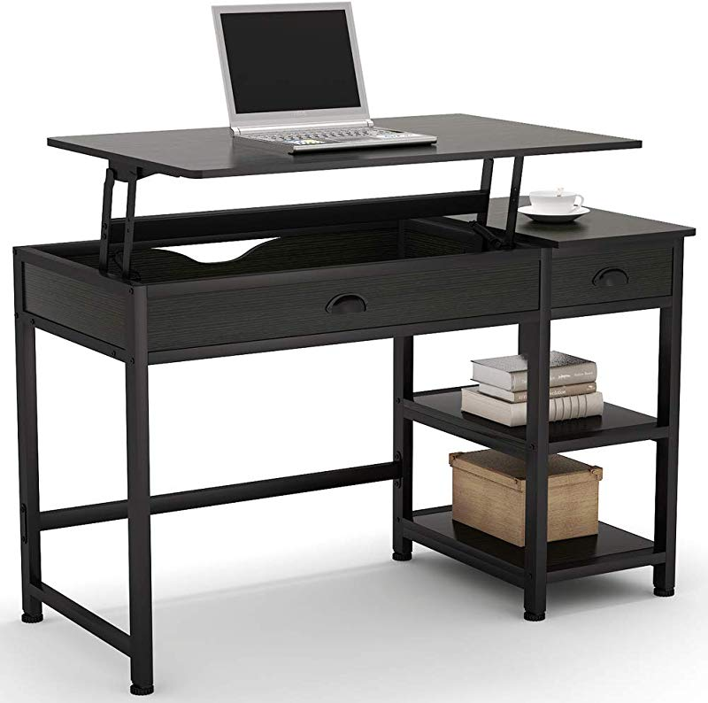 Tribesigns Modern Lift Top Computer Desk With Drawers 47 Inch Writing Desk Study Table Workstation With Storage Shelves Height Adjustable Standing Desk For Home Office Small Spaces Black
