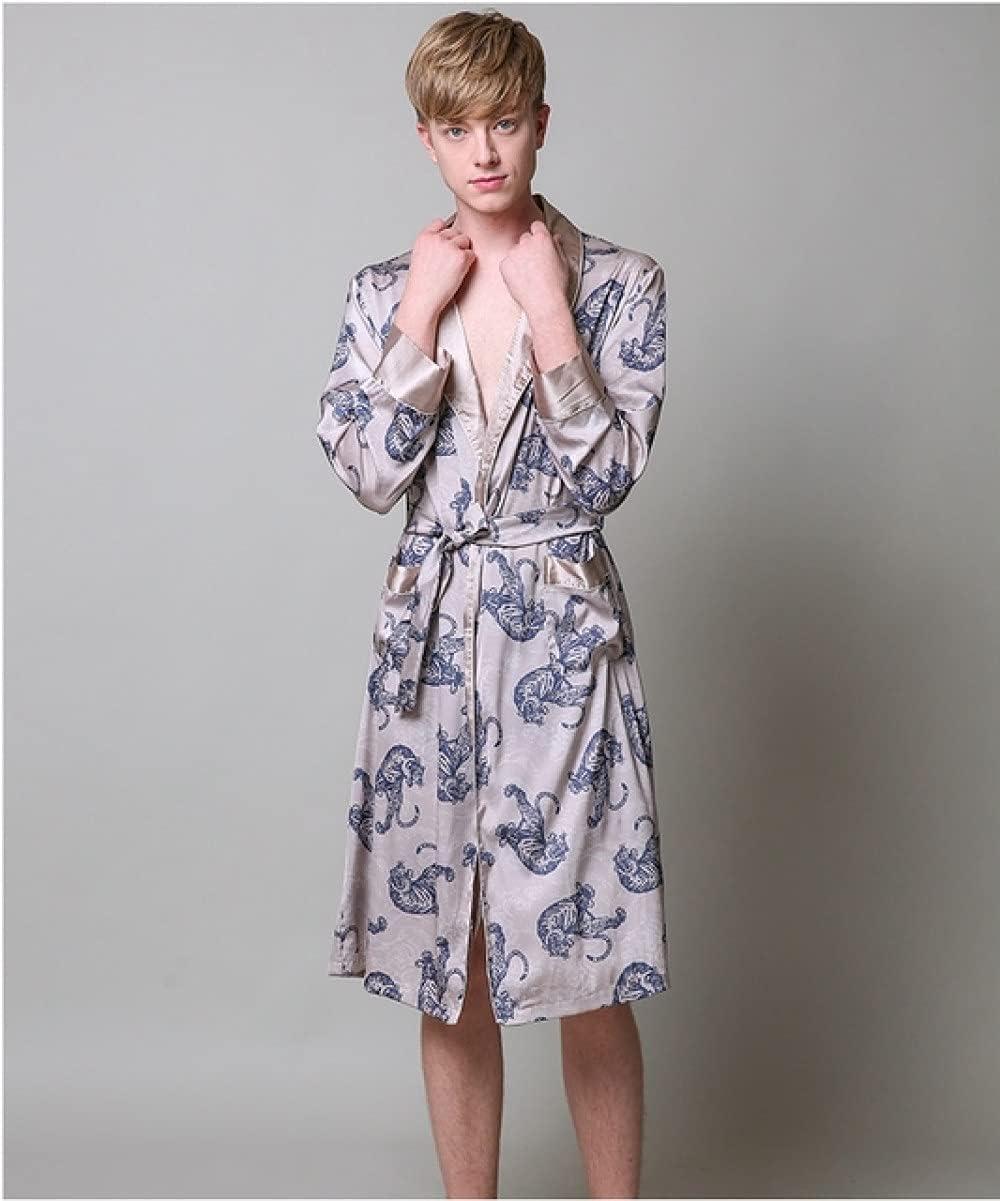 SDCVRE Bathrobe Pajamas Two-Pieces Silk Nightgown Satin Male Sleepwear Loose Tiger Dress Silky Long Sleeve Robe and Long Pants Bathrobe Set for Men,Robe,XXL