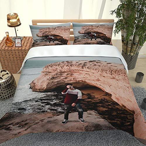 ZHIYYQ Juego de ropa de cama de tres piezas con funda de edredón y funda de almohada, microfibra 3D, impresión digital espesante, suave, cómodo, regalo gris, 200 x 200 cm