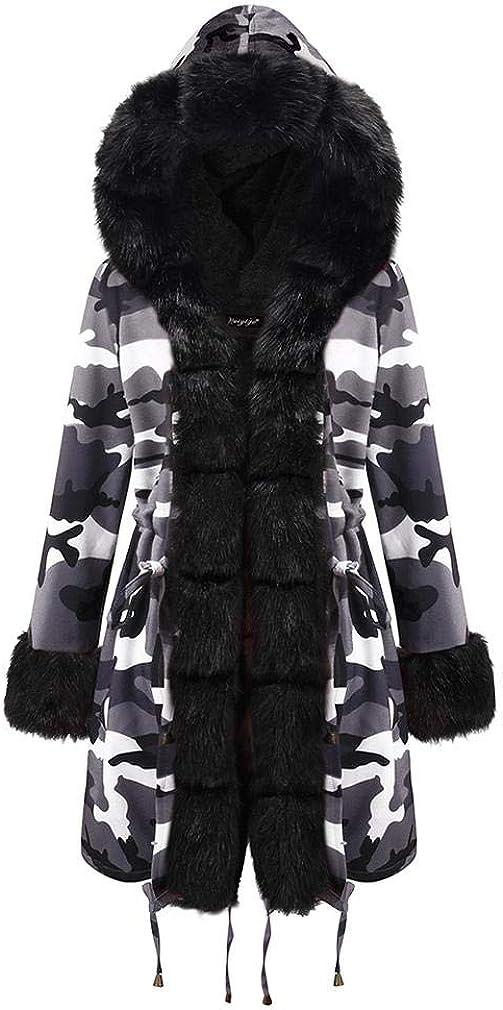 Lafasaya Women Thicken Warm Winter Coat Hooded Faux Fur Lined Parka Overcoat Camouflage Long Jacket Outwear