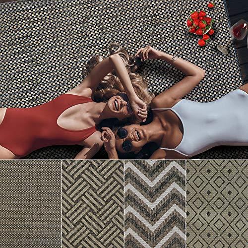 Outdoor Teppich Clyde für Terrasse und Balkon | wetterfester Sommerteppich für Ihren Garten | robustes Flachgewebe für außen und innen | modernes Design | Modell Courtyard mit Punkt Muster 160x230 cm
