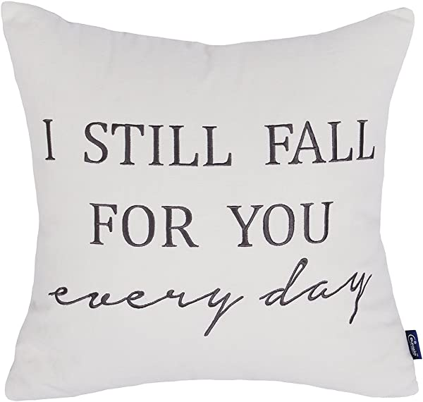 EURASIA DECOR DecorHouzz Pillow Cover Romantic Love Quote Embroidered Throw Pillowcase For Couple Valentine Anniversary Wedding Gift 18 X18 I Still Fall Cream