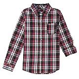 French Toast Boys' Little Long Sleeve Woven Yarn-dye Shirt, Navy, 6