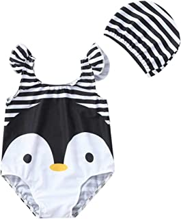 LiLiMeng Toddler Baby Kids Girl Cartoon Penguin Swimwear Swimsuit Beach Romper Clothes Hat Outfit