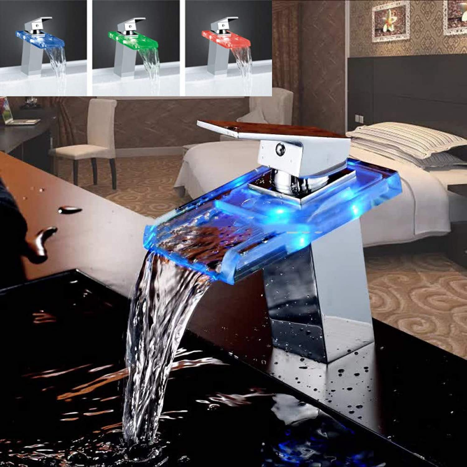 ZHFJGKR&ZL Athroom Waterfall Led Faucet Glass Waterfall Brass Basin Faucet Bathroom Mixer Tap Deck Mounted Basin Sink Mixer Tap