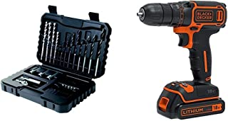 BLACK+DECKER Drilling and Screwdriver Bit Set - 32 Piece with 18 V Lithium-Ion Cordless Drill Driver