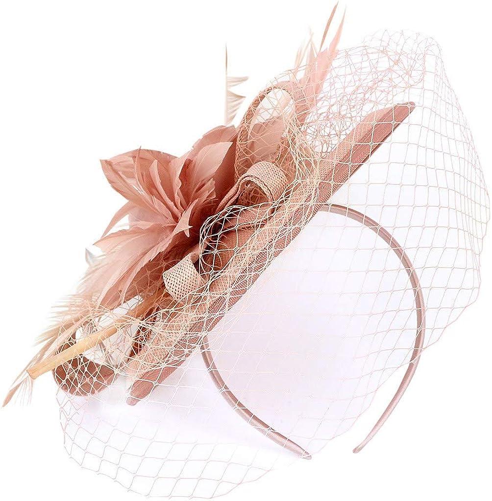 LARNOR Women's Fascinators Hat Pillbox Hat Cocktail Party Hat Hair Clip Headband