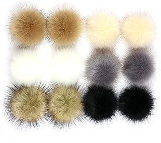 12 peças de pompom de pele sintética bola de pompom faça-você-mesmo para bolsas, chapéu de tricô, cachecol, chaveiro, aces...