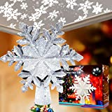 Christmas Tree Topper Lighted with Snowflake Projector,LED Rotating Snowflake, 3D Sliver Snow Tree Topper for Xmas Tree Decorations(White)
