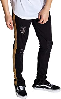 Men's Tapered Skinny Striped Pants with Ankled Zippers