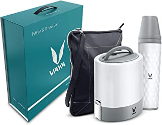 Vaya Tyffyn & Drynk Gift Combo Set - White 1000 ml Copper-Finished Stainless Steel Lunch Box with BagMat and 600 ml Water ...