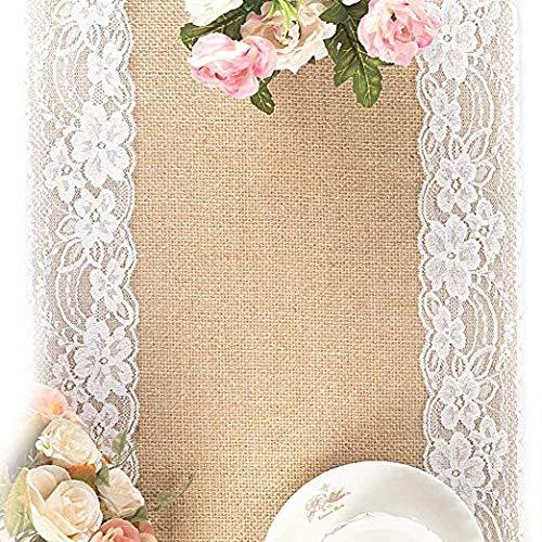 Lawei 2 Stück Tischläufer Natürliche Jute Sackleinen für Party Hochzeit Wohnkultur - 30 x 274 cm
